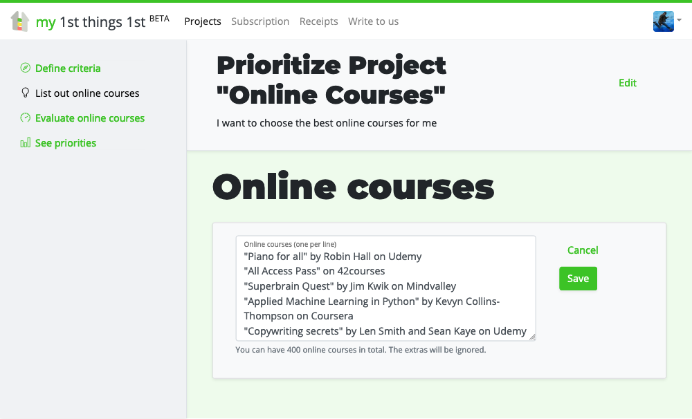 List out online courses