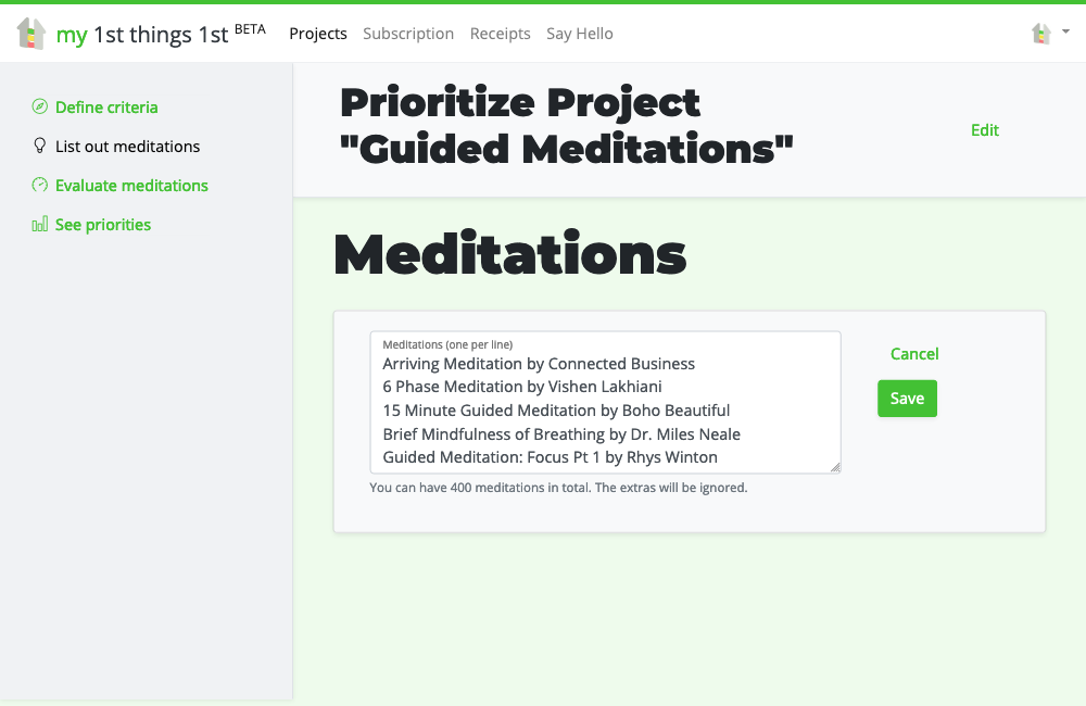 Bulk adding guided meditations